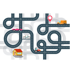 city road map plan with cars and pin flat design vector image