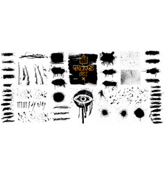 collection black paint isolated grunge set vector image