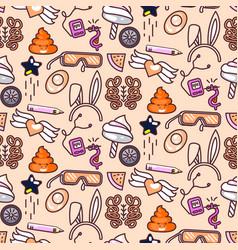 Cute doodles pink seamless pattern vector