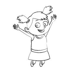 cute school girl cartoon vector image
