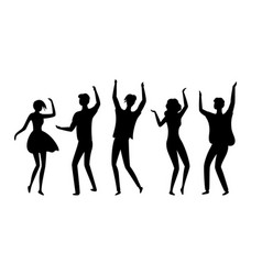 disco dancers silhouettes people in nightclub vector image