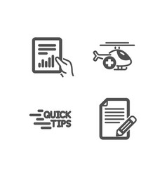 Document education and medical helicopter icons vector