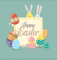 easter sale banner template with bunny rabbit and vector image