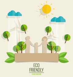 ECO FRIENDLY Paper cut of family and tree vector image