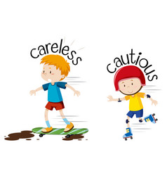english opposite word careless and cautious vector image