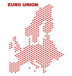 euro union map - mosaic of heart hearts vector image