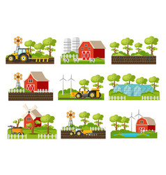farming elements set vector image vector image