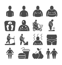 fat obese people overweight person icons vector image