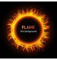 Flame circle background vector image