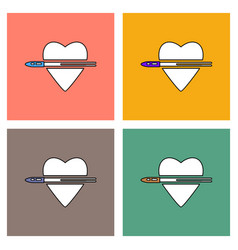 Flat icon design collection bullet wounded the vector