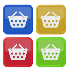 Four square color icons shopping basket vector