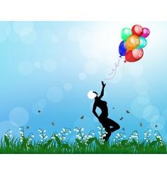 Girl balloon vector
