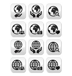 Globe earth with hands icons set with refle vector image