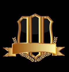 gold emblem shield background icon vector image