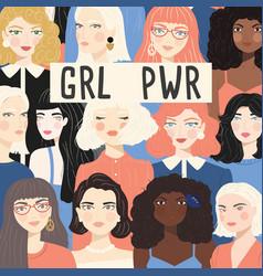 Group portraits diverse women girl power vector
