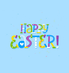Happy easter doodle kid style letter greeting card vector