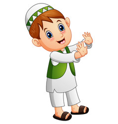 Happy muslim kid waving hand vector