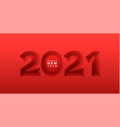 happy new year 2021 paper cut red number sign card vector image