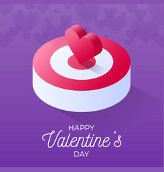 happy valentine day isometric heart standing on vector image