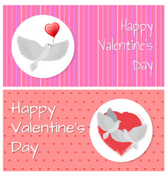 Happy valentines day banners doves fly peacefully vector