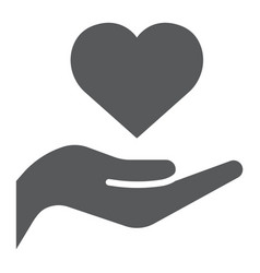 heart on hand glyph icon love and care heart in vector image