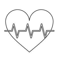 Heart pulse rhythm cardio thin line vector