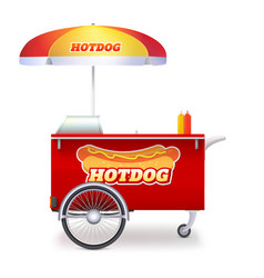 hot dog cart street fast food market on bicycle vector image