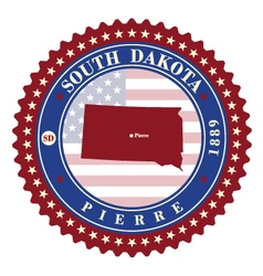Label sticker cards of state south dakota usa vector