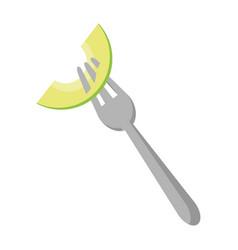 lemons slice on fork citric fruit fruit vector image