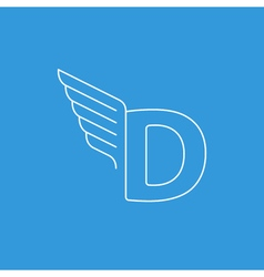 Letter D logo with wings in thin lines vector