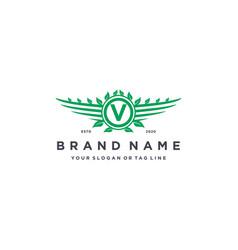 Letter v leaf wing logo design concept vector
