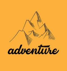 line drawing mountains and adventure concept vector image