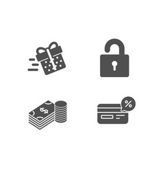 Lock savings and present delivery icons cashback vector