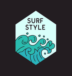 logo blue waves and surf style vector image