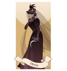 Major arcana tarot cards death woman dressed vector