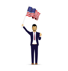 man waving a usa flag vector image
