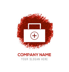 Medical kit icon - red watercolor circle splash vector