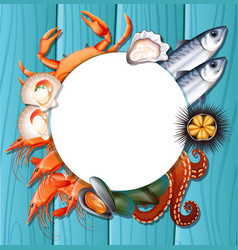 mix fresh seafood template vector image