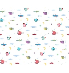 Monster Fly Fish seamless pattern for Kids Design vector