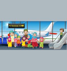 Muslim family at airport vector