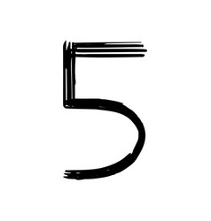 number 5 painted by brush vector image