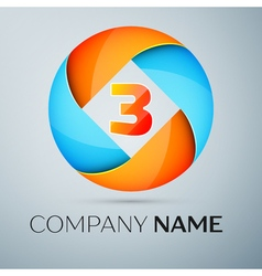 Number three logo symbol in the colorful circle vector