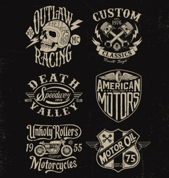 one color vintage motorcycle graphic set vector image