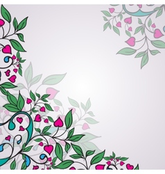ornament with green leaves and hearts vector image