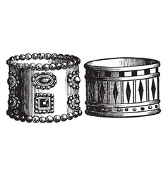Persian and egyptian armlets vintage engraving vector