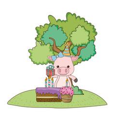Pig cartoon with happy birthday icon design vector
