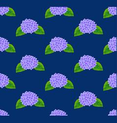 Purple hydrangea flower seamless on indigo blue vector