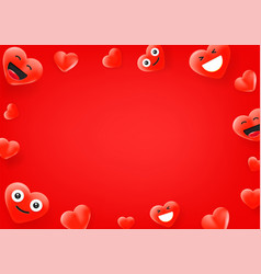 red heart cute faces social media message vector image