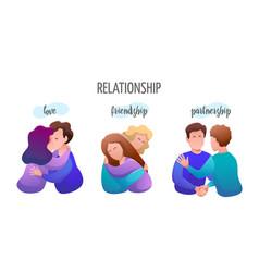 Relationship people banner flat design set vector