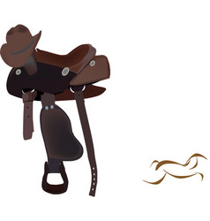 Riding horse saddle with hat vector